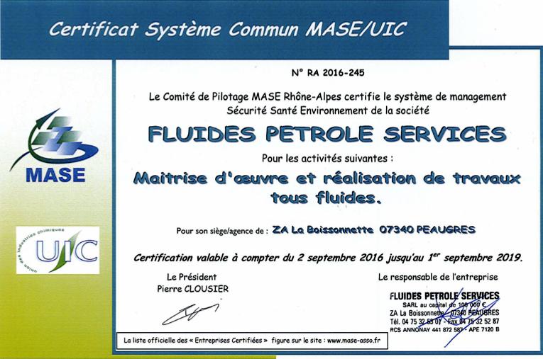 Certificat MASE obtenu le 2 septembre 2016 par FPS